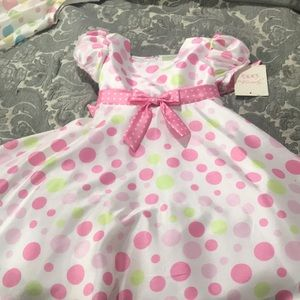 Pokadot girls dress with cute bow